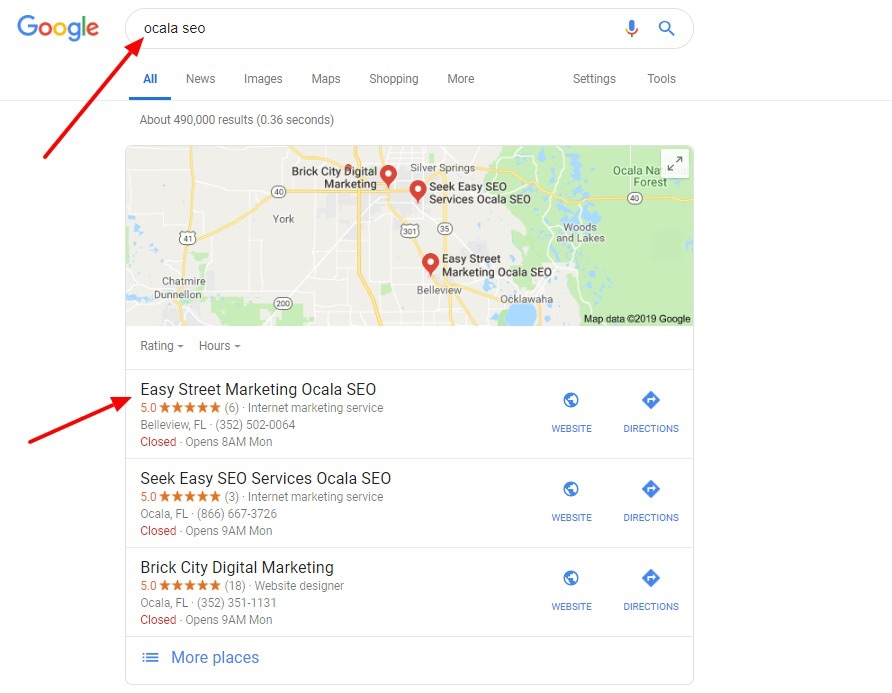 easy street seo results pic